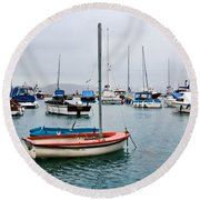 Small Boats At Lyme Regis Harbour Round Beach Towel