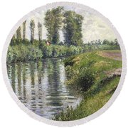 Small Branch Of The Seine At Argenteuil Round Beach Towel