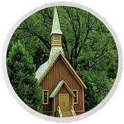 Small Chapel  Round Beach Towel