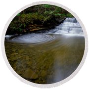 Small Falls Pool Swirl I Round Beach Towel