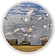 Small Farms Fading Fast Round Beach Towel