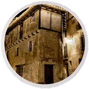 Small House In Albarracin At Night Round Beach Towel
