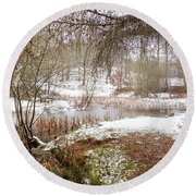 Small Lake In The Snow Round Beach Towel