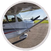 Small Plane In Private Airport Round Beach Towel