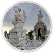 Small Praying Angel And Chapel Round Beach Towel