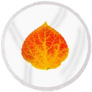 Small Red And Yellow Aspen Leaf 1 - Print Version Round Beach Towel