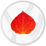 Small Red Aspen Leaf 1 - Print Version Round Beach Towel