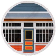Small Store Front Entrance Colorful Wooden House Round Beach Towel