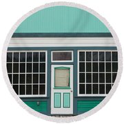 Small Store Front Entrance To Green Wooden House Round Beach Towel