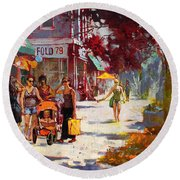 Small Talk In Elmwood Ave Round Beach Towel by Ylli Haruni