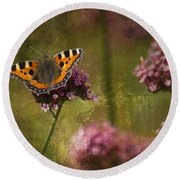Small Tortoiseshell Butterfly Round Beach Towel