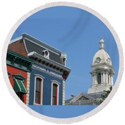 Small Town America Round Beach Towel