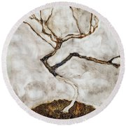 Small Tree In Late Autumn Round Beach Towel