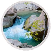 Small Virgin River Waterfall In Zion Canyon Narrows In Zion Np-ut Round Beach Towel