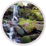 Small Waterfall In Marlay Park Dublin Round Beach Towel