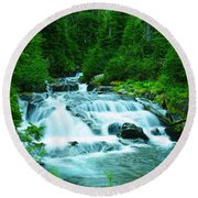 Small Waterfall On The Paradise River Round Beach Towel
