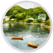 Small Yellow Boats Round Beach Towel