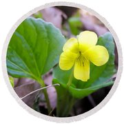 Small Yellow Violet Round Beach Towel