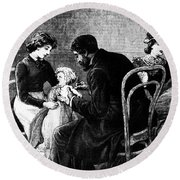 Smallpox Vaccination, 1883 Round Beach Towel