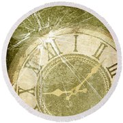 Smashed Clock Face Round Beach Towel
