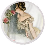 Smelling The Roses Round Beach Towel