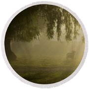Smelly Goat In The Mist Round Beach Towel