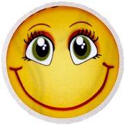 Smiley Sun Round Beach Towel