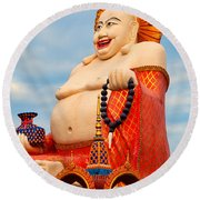 smiling Buddha Round Beach Towel by Adrian Evans