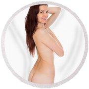 Smiling Nude Round Beach Towel