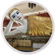 Smiling Reclining Buddha In Yangon Myanmar Round Beach Towel