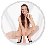 Smillung Nude Brunette Round Beach Towel