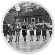 Smith Girls Skate On Paradise Pond Round Beach Towel