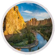 Smith Rock River Bend Round Beach Towel by Inge Johnsson