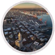 Smith Tower And West Seattle Round Beach Towel