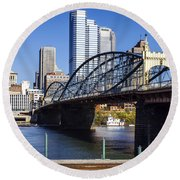 Smithfield Street Bridge Round Beach Towel