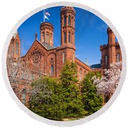 Smithsonian Castle Wall Round Beach Towel