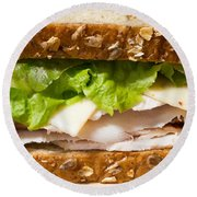Smoked Turkey Sandwich Round Beach Towel by Edward Fielding