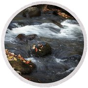 Smokey Mountain Stream In Autumn No.2 Round Beach Towel