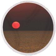 Smokey Sunset  Round Beach Towel