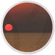 Smokey Sunset V2 Round Beach Towel