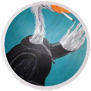 Smoking Egret In Leather Jacket Round Beach Towel
