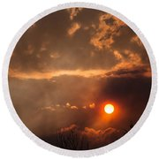 Smoky Clouds Over The Rogue Valley Round Beach Towel