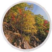 Smoky Mountain Autumn Round Beach Towel