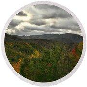 Smoky Mountain Autumn View Round Beach Towel