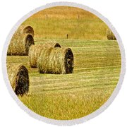 Smoky Mountain Hay Round Beach Towel by Frozen in Time Fine Art Photography