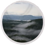 Smoky Mountain Mist Round Beach Towel