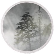 Smoky Mountain Mist Round Beach Towel