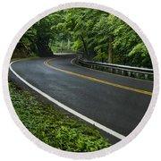 Smoky Mountain Road After Spring Rain E70 Round Beach Towel
