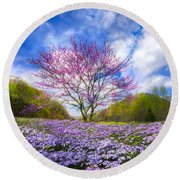 Smoky Mountain Spring Round Beach Towel