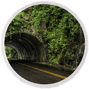 Smoky Mountain Tunnel In The Rain E123 Round Beach Towel